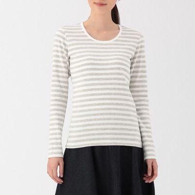 オーガニックコットンストレッチクルーネック長袖Tシャツ(ボーダー) 婦人M・オフ白×黒   無印良品ネットストア