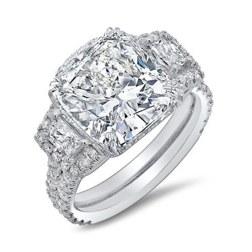 3.00 Ct Natural Cushion Cut 3-Stone Pave Diamond Engagement Ring - GIA Certified