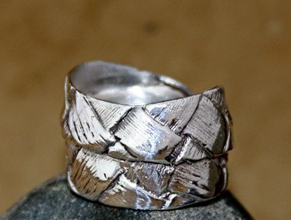 Sterling Silver Flax weave ring - double wrap