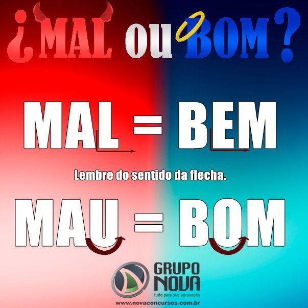 A Escrita ainda causa muita dúvida: MAL/MAU = BEM/BOM...
