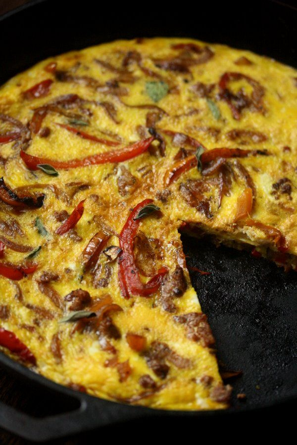 Italian Sausage, Onion and Pepper Frittata via www.feedmephoebe.com