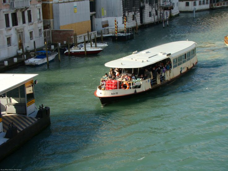 Canal Bus on the Grand Canal, approaching Accademia terminal.