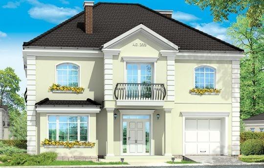 Projekt Elegancki to wykwintny, klasyczny w formie dom. Budynek o prostej bryle i układzie wnętrz jest zarazem wyrafinowany i intrygujący. Z zewnątrz dom nawiązuje do willi okresu międzywojennego, w nowym ujęciu. Projekt domu zawiera elementy nowoczesnych uproszczeń, co potęguje jego elegancję. Dom dzięki swoim niewielkim wymiarom zewnętrznym zmieści się na małą, szczególnie na wąską działkę.