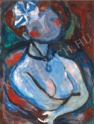 Kislány fehér masnival by Hungarian Margit Anna, born Margit Sichermann, 1913~1991