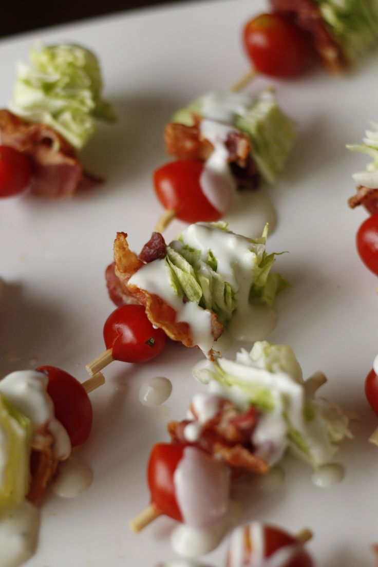 Lettuce wedge bites are all the flavors of a classic lettuce wedge salad, tomato, bacon, lettuce, blue cheese dressing, in a bite! Great appetizer!