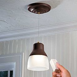 Put anywhere, no wires, battery operated pendant light with remote. $49.99 from Improvements