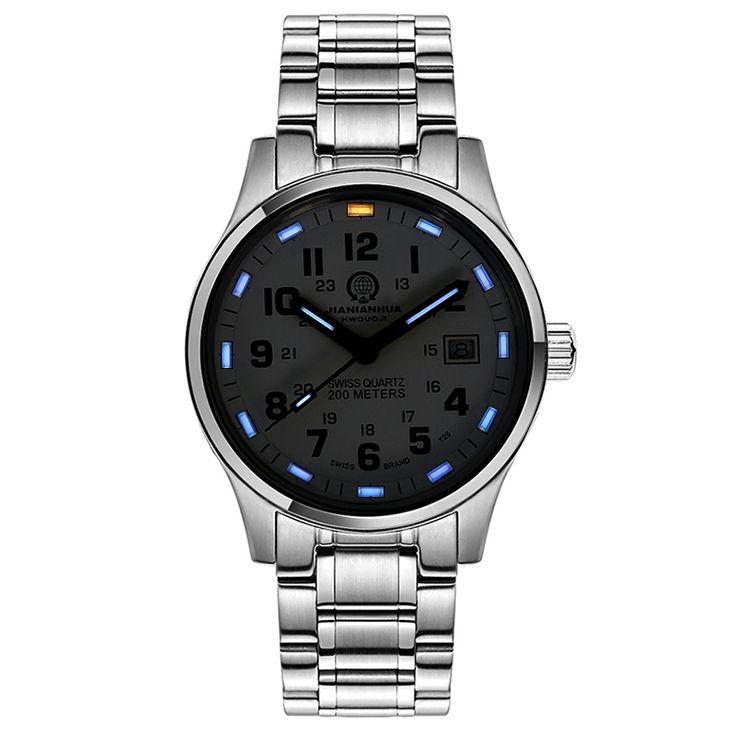 US $88.00 - Mens blue watch men Tritium Light Waterproof Military Sapphire Stainless Steel Automatic Date Sports women Quartz Watch