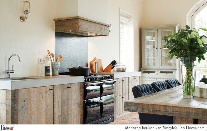 Restylexl modern landelijke keuken restylexl keukenkasten keuken pinterest met search - Interieur decoratie modern hout ...