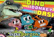 Juego de Dino Donkey Dash | JUEGOS GRATIS: Estos amigos de Gumball están en un terreno peligroso y no tienen que hacer ruido para no despertar al gran Dinosaurio, presiona las teclas según las flechas que te indiquen para caminar despacio, no te equivoques, también podrán jugar dos player