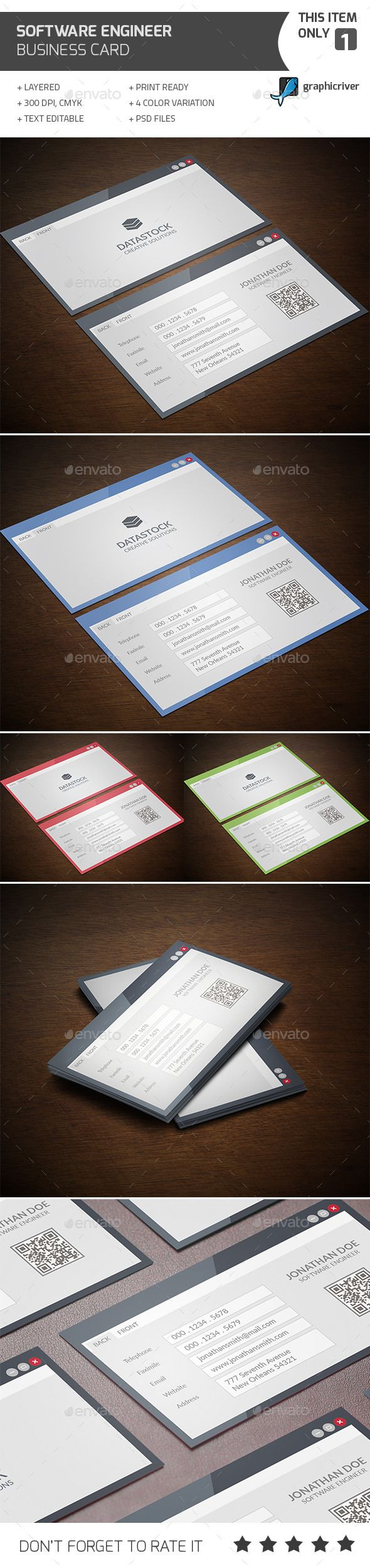 Software Engineer Business Card Design Template - Industry Specific Business Card Template PSD. Download here: https://graphicriver.net/item/software-engineer-business-card/12492240?s_rank=1790&ref=yinkira