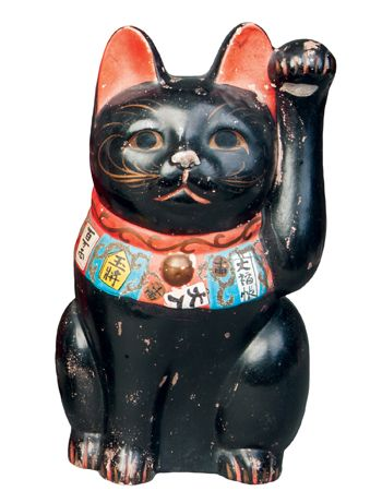 Maneki Neko - Painted Clay. Circa Mid-20th Century.