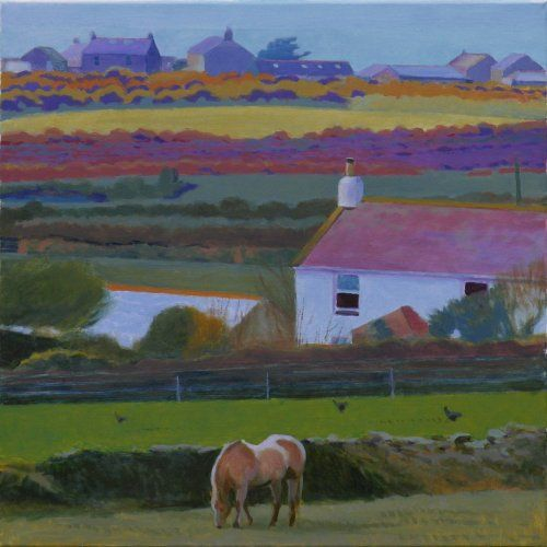 cornish_farms_carallack_to_bollowal 61 x 61 cms Tom Henderson Smith. Click the picture or 'visit site' to access a link to its Artstack page where there are 'zoom' and 'view in room' facilities.