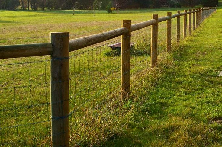 Rural Fencing  - I like this fence, but would use square timber posts & beams instead of round ones.