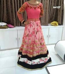 Buy Pink net embroidered unstitched bridal-lehengas bridal-lehenga online