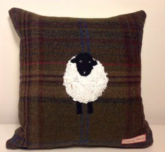 Blackface sheep appliqué tweed cushion
