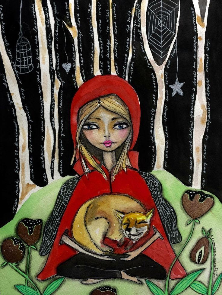 Lady and the Fox (cover for my oracle cards I'm working on) by Jeanette MacDonald Art
