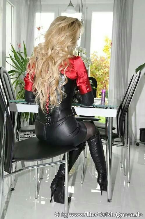 Heike the Fetish Queen wears Satin and Leather http://www ...