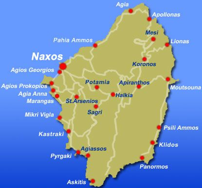 Map of the Island of Naxos Greece showing its beaches