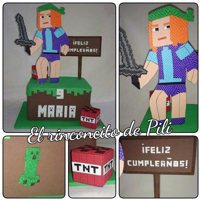 Centro de mesa Minecraft #cumpleaños