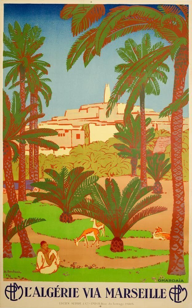 yellow palm tree French Air Marseille art print poster