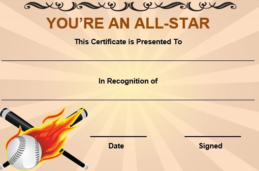 Name a star certificate template star student award certificate baseball all star certificate template1 yadclub Choice Image