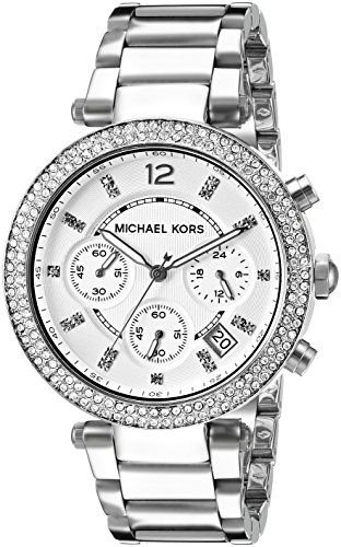 Target Audience : Lady - Style : Fashion - Item Shape : Round - Colors : Silver - Materials : Stainless steel - Movement Type : Quartz - Water Resistance : 10 atm - Glass : Mineral - MICHAEL KORS women watch - Round stainless steel case (diam. 39 mm) in polished finishing - 2 chromed pushers - 5 ATM water pressure resistance construction -Bezel with clear crystals Stainless steel bracelet in polished finishing - Locking clasp with push button Silver dial with clear crystals as indexes…