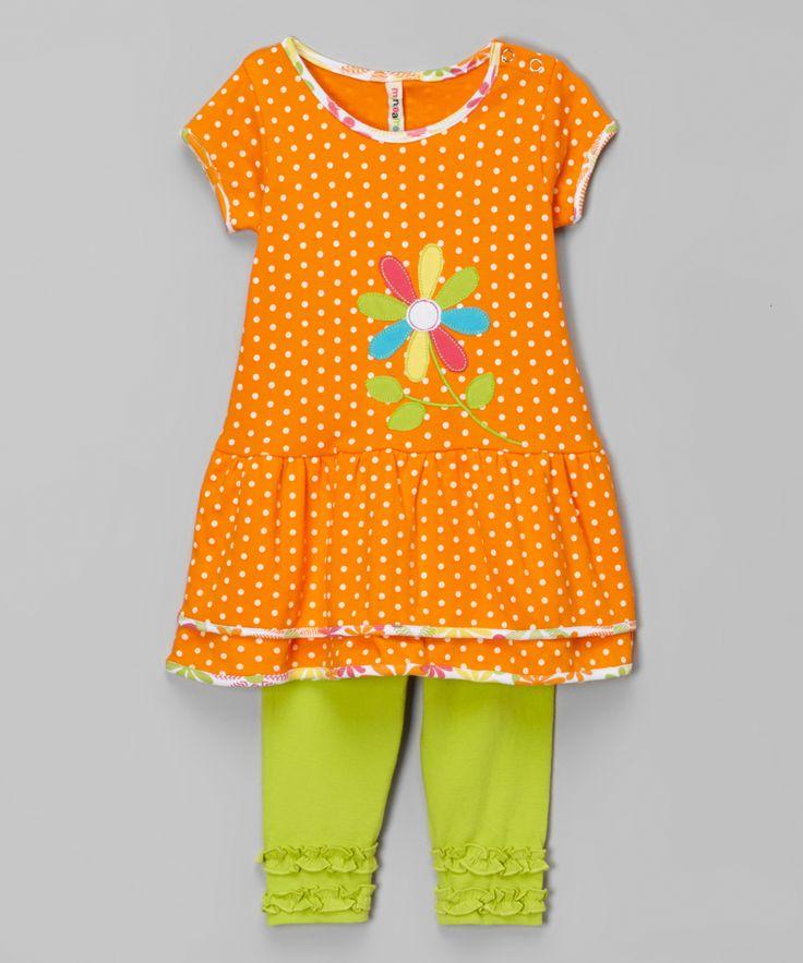 Мини Бамба оранжевый горошек многоуровневое платье и Леггинсы лимонно - младенца | сайт zulily