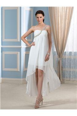 Garden/Outdoor One Shoulder All Sizes A-line Asymmetry Sleeveless Summer Beading Wedding Dress