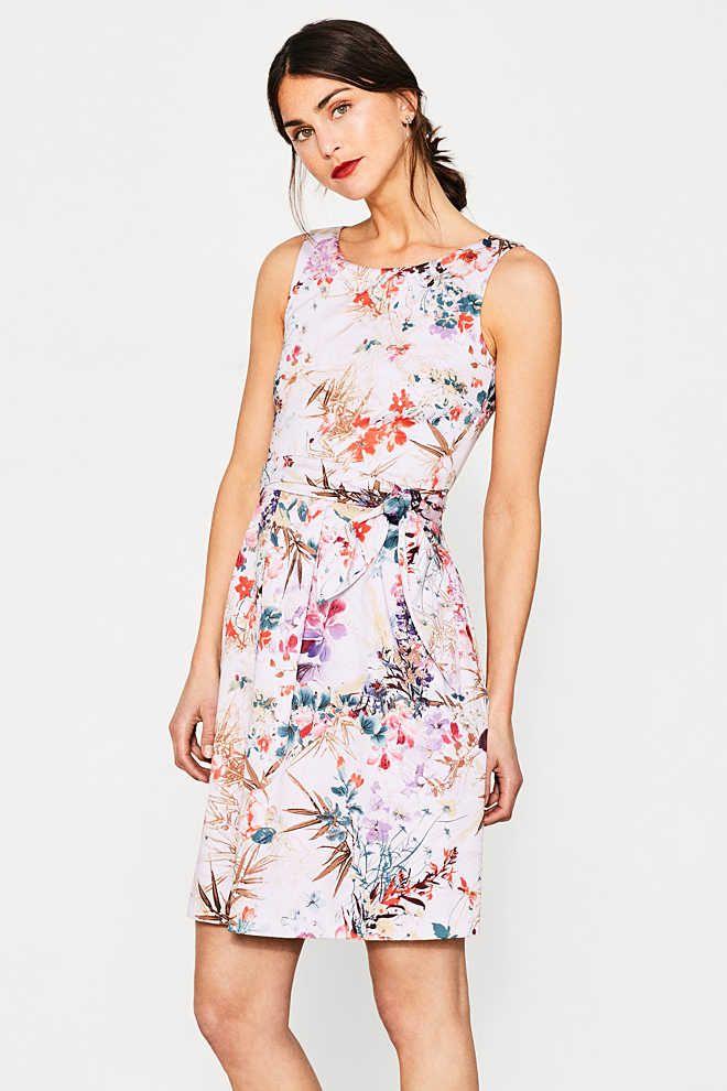 Esprit / Getailleerde jurk van katoen met stretch