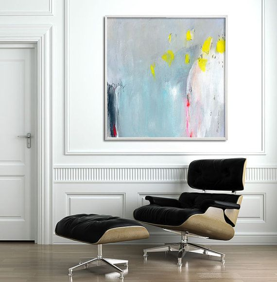 """Giclee print of abstract painting extra large wall art up to 40x40"""" large wall art canvas art blue yellow grey"""