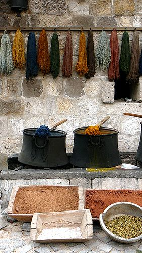 Berries, Natural Dyes by Philosopher Queen, via Flickr.  This was my first job with CW between college years: we built a fire, boiled some berries or leaves and dyed some wool spun by CW's Spinning and Weaving Shop.