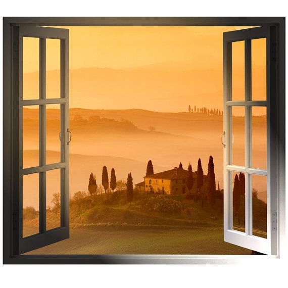 Windowscape italy series tuscan sunset wall decal home for Mural alternatywy 4