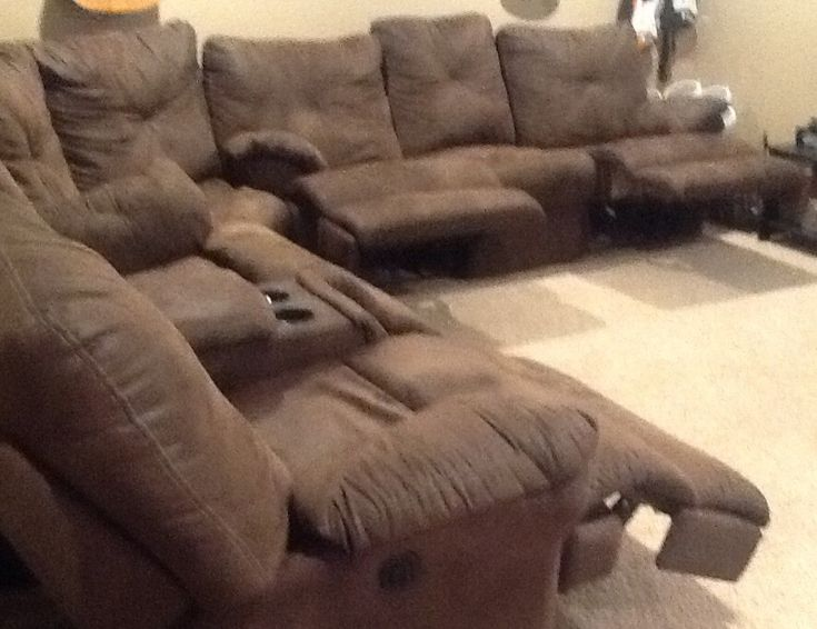 Best Brown Suede Cloth Sectional Sofa With 2 Electric And 2 400 x 300