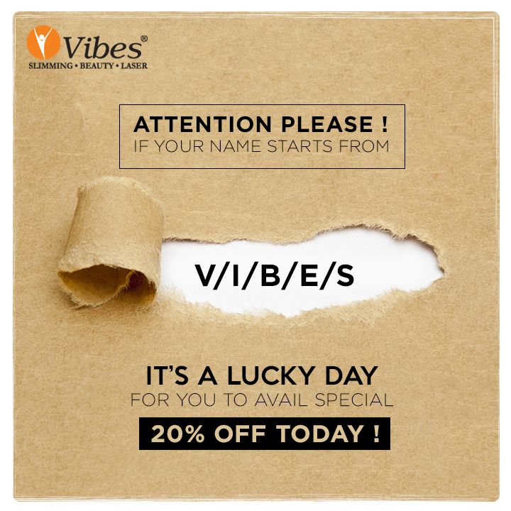 All the people reading this, if your name starts with V/I/B/E/S, celebration starts from now. Visit #Vibes and avail 20% OFF on #Salon Services. Book now http://vibes.in/appointment/