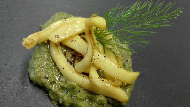 ANTIPASTINO: seppie gialle su crema di asparagi