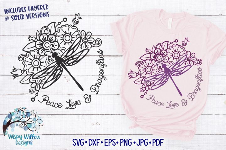 Download Peace Love and Dragonflies SVG | Floral Dragonfly SVG ...
