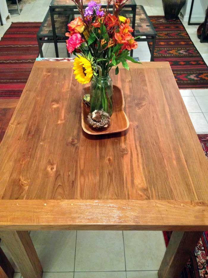 Reclaimed teak dining table x 1 thick) with four 4 legs made from salvaged  old growth teak wood Salvaged from railroad ties and trestle bridge pieces  and ...