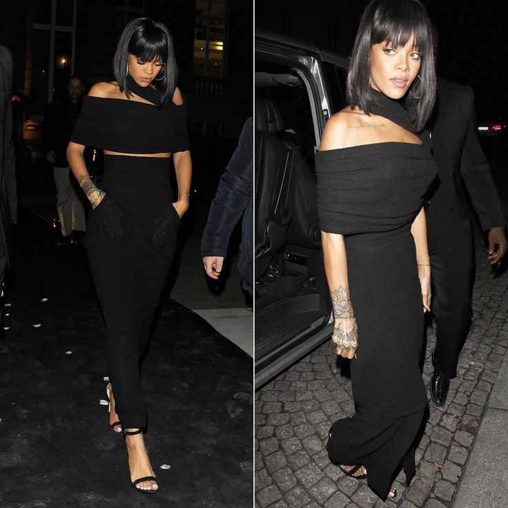 Rihanna Wearing Chanel Spring Summer 2014 Black Top And Maxi Skirt Manolo Blahnik Chaos Ankle
