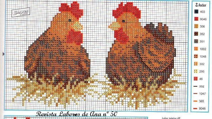 <3 chickens cross stitch