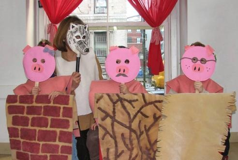 Three Little Pigs Costumes -- I can really see this turning into a cute class skit --