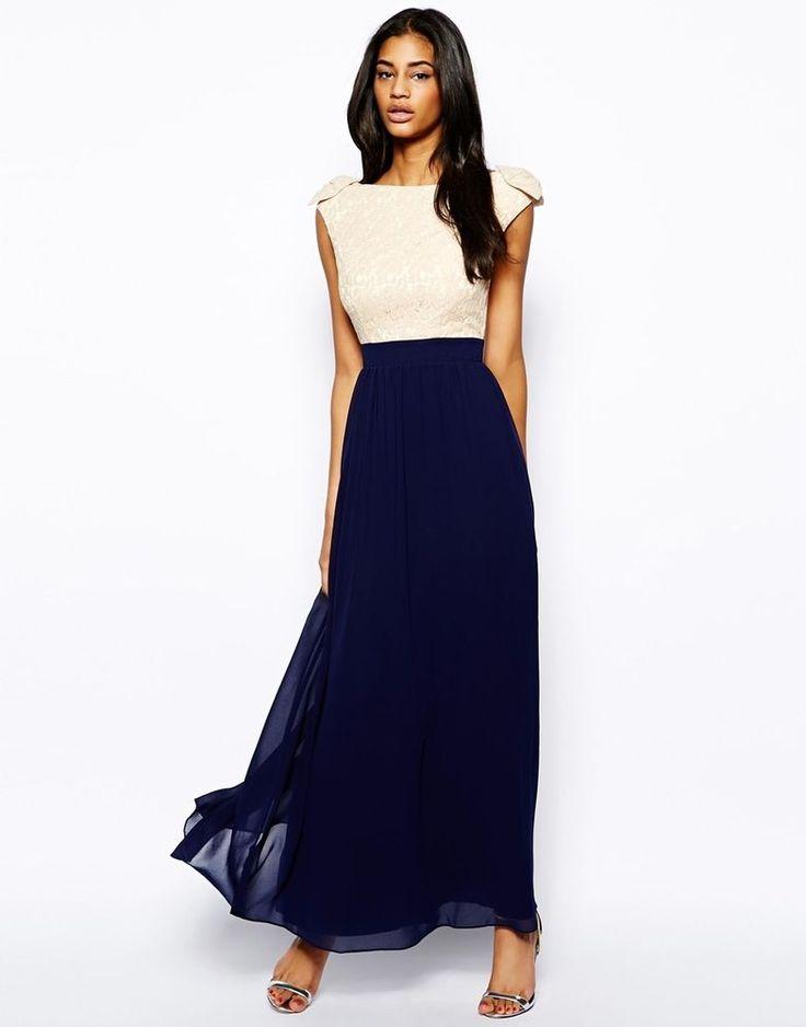 Little Mistress Maxi Prom Dress with Lace Bardot Top UK Size:8  RRP £65.00