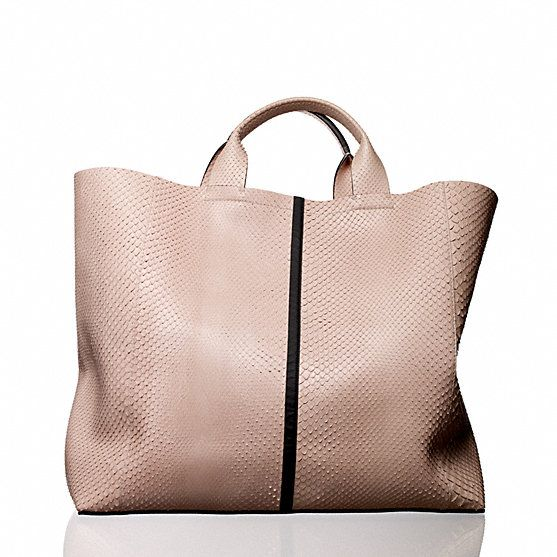 Reed Krakoff python Track Tote.   Taped seam front and back. Hidden interior magnetic hanging pockets with snap in front and back. Leather lining. Color: MARBLE