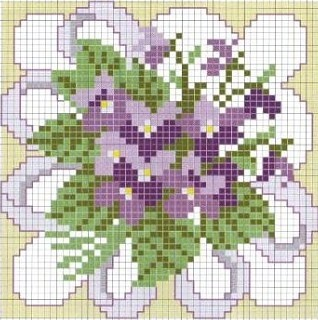 cross stitch chart violets