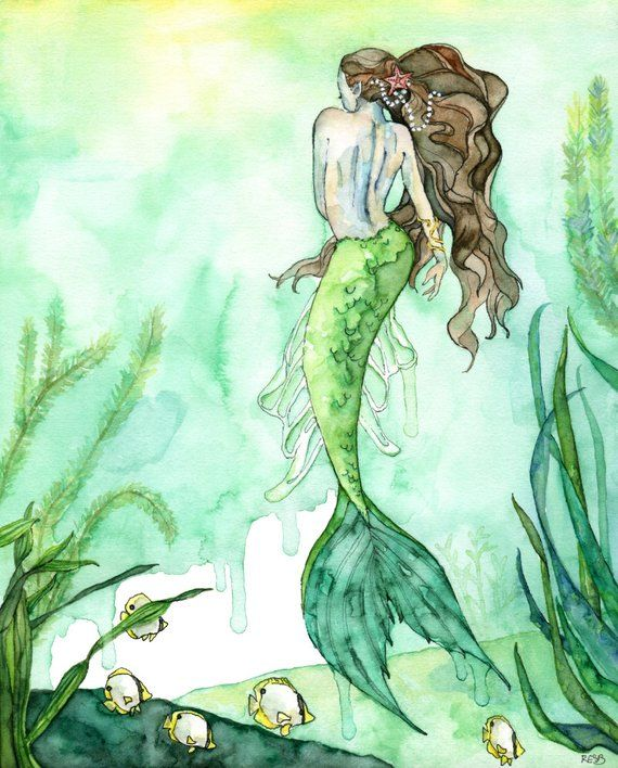 "Watercolor Mermaid Painting, Mermaid Print, Beach Decor, Mermaid Decor, Mermaid Wall Art, Mermaid Art, titled, ""Among the Seagrass"""