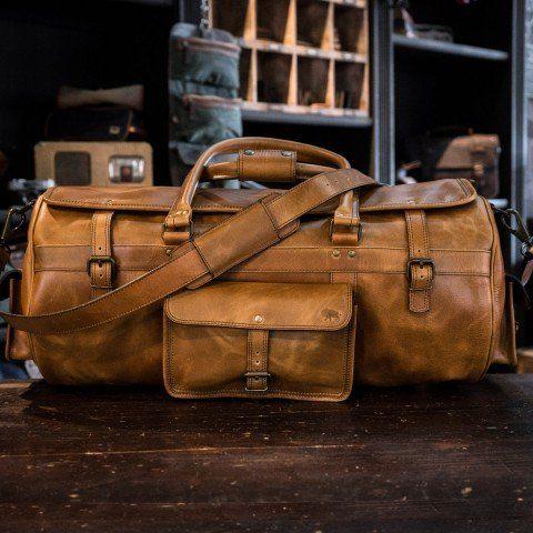 ceb5f71bab Roosevelt Buffalo Leather Travel Duffle Bag - Barley