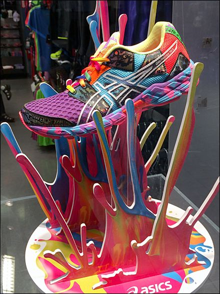 Another fabulous sneaker display from ASICS. #retail #merchandising #sneaker #display #colour