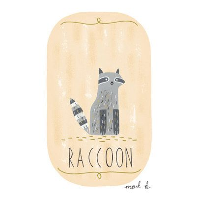 Raccoon - 6x4 print - Available in pink, peach, cream, green, teal & blue - Woodland ...