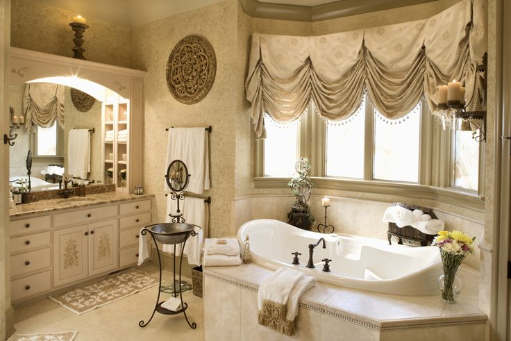 Home Decor. Beautiful Victorian Window Treatment Designs For Your Rooms. Luxury Modern Bathroom Interior Featuring White Ceramic Bath Tub And White Bathroom Dresser Cabinet With Mirror Also Curved Window With Victorian Gold Valances Treatment Ideas. .