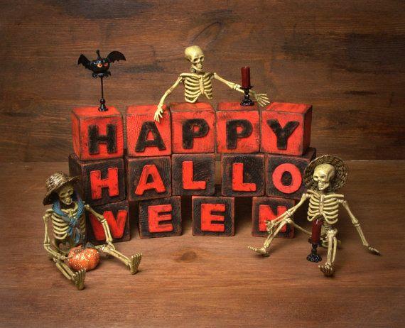 Halloween Shabby Chic Letter Blocks Happy by ForMomentsinTime