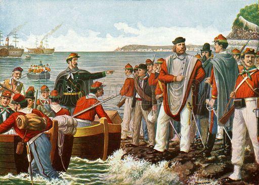 Garibaldi si imbarca per la spedizione dei Mille